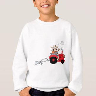 Cartoon Farmer Driving A Red Tractor Sweatshirt