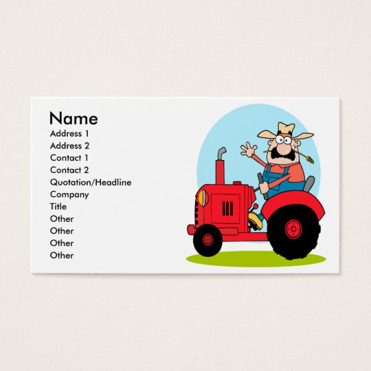 cartoon farmer riding a red tractor business card