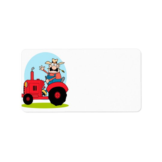 cartoon farmer riding a red tractor label