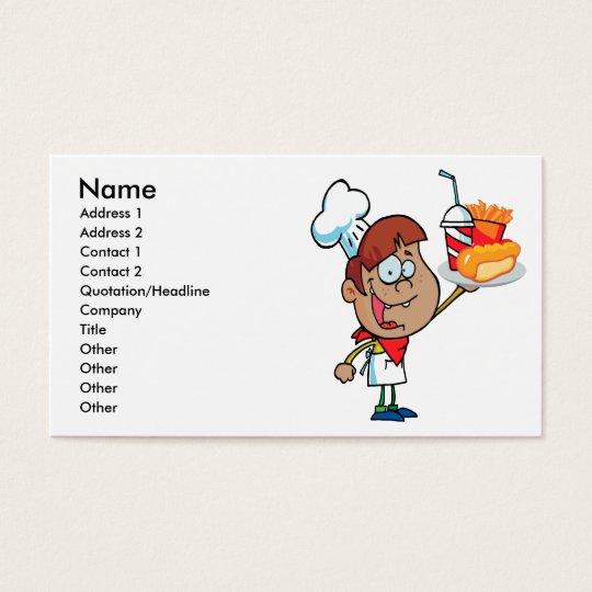 cartoon fast food waiter character business card