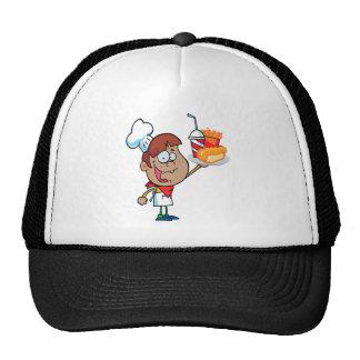cartoon fast food waiter character cap