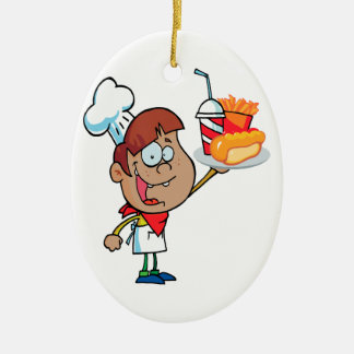 cartoon fast food waiter character christmas ornament
