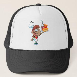cartoon fast food waiter character trucker hat