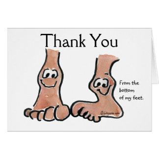 Cartoon Feet Thank You Greeting Card
