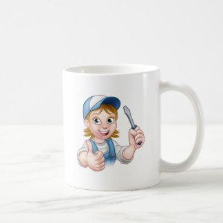 Cartoon Female Electrician Holding Screwdriver Coffee Mug