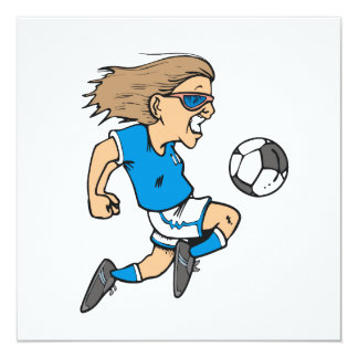 Cartoon Female Soccer  Star T-shirts and Gifts 5.25x5.25 Square Paper Invitation Card