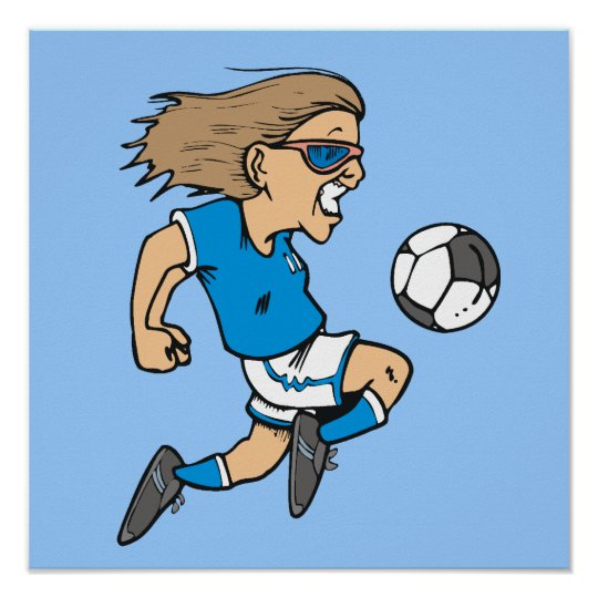 Cartoon Female Soccer Star T-shirts and Gifts Poster