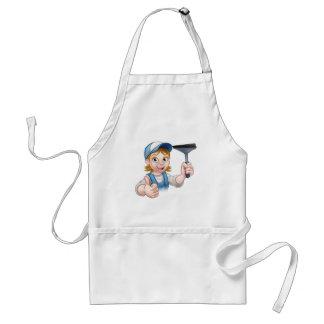 Cartoon Female Window Cleaner Character Standard Apron