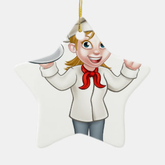 Cartoon Female Woman Baker or Pastry Chef Ceramic Star Decoration
