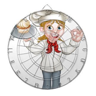 Cartoon Female Woman Baker or Pastry Chef Dartboard