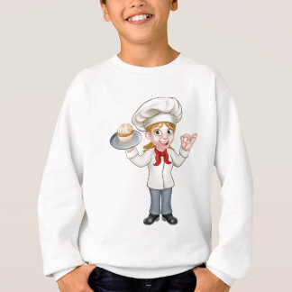 Cartoon Female Woman Baker or Pastry Chef Sweatshirt