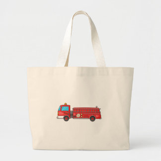 Cartoon Fire Truck/Engine Tote Bags