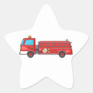 Cartoon Fire Truck/Engine Star Sticker