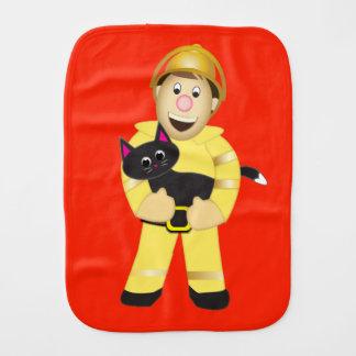 Cartoon Fireman Burp Cloth