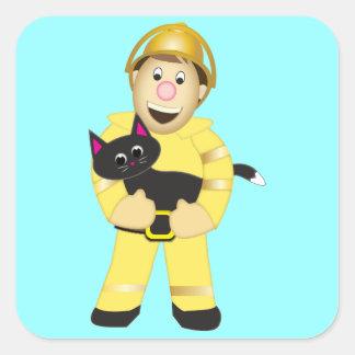 Cartoon Fireman Square Sticker