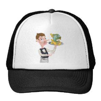 Cartoon Fish and Chips Waiter Butler Pointing Cap