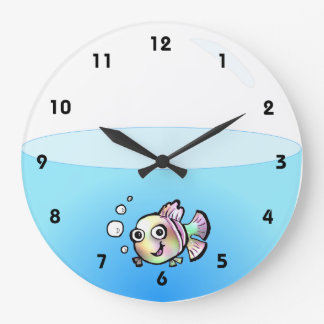 Cartoon Fish Bowl Clock with numbers