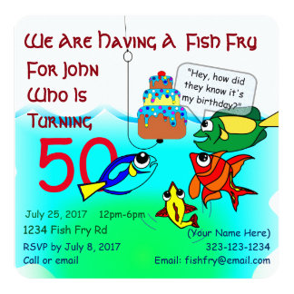 Cartoon Fish Fry Birthday Invitation