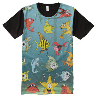 Cartoon Fish Underwater All-Over Print T-Shirt