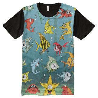 Cartoon Fish Underwater All-Over Print T-Shirt