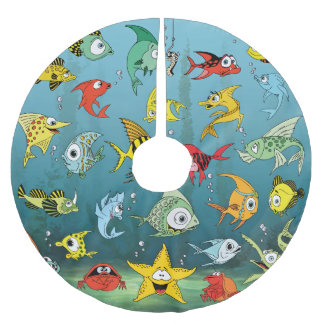 Cartoon Fish Underwater Brushed Polyester Tree Skirt
