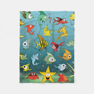 Cartoon Fish Underwater Fleece Blanket