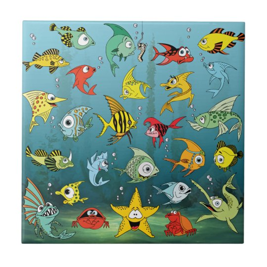 Cartoon Fish Underwater Tile