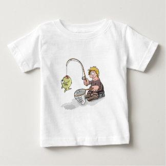 Cartoon fisherman fishing on the ice baby T-Shirt