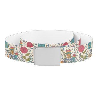 Cartoon floral pattern with birds 2 belt