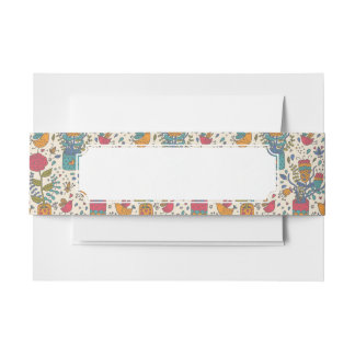Cartoon floral pattern with birds 2 invitation belly band
