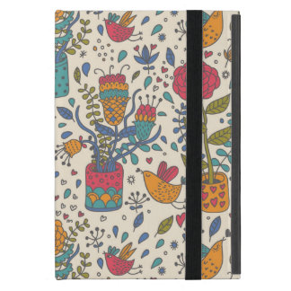 Cartoon floral pattern with birds 2 iPad mini case