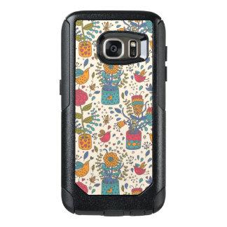 Cartoon floral pattern with birds 2 OtterBox samsung galaxy s7 case