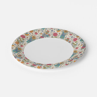 Cartoon floral pattern with birds 2 paper plate