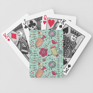 Cartoon floral pattern with birds bicycle playing cards