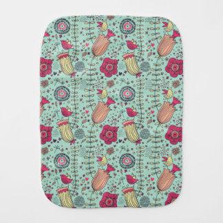 Cartoon floral pattern with birds burp cloth