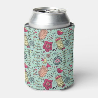 Cartoon floral pattern with birds can cooler