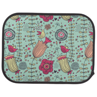 Cartoon floral pattern with birds car mat