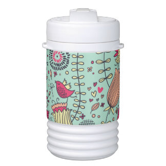 Cartoon floral pattern with birds drinks cooler