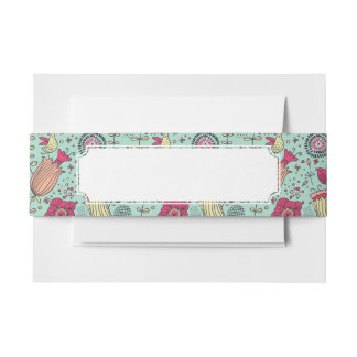 Cartoon floral pattern with birds invitation belly band