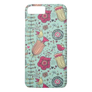 Cartoon floral pattern with birds iPhone 8 plus/7 plus case
