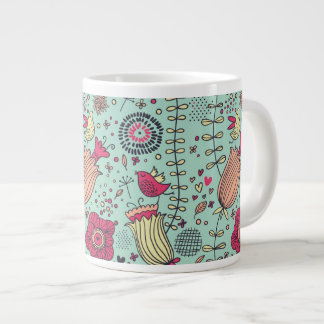 Cartoon floral pattern with birds large coffee mug