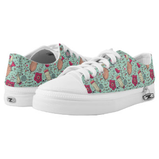 Cartoon floral pattern with birds low tops