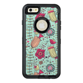 Cartoon floral pattern with birds OtterBox defender iPhone case