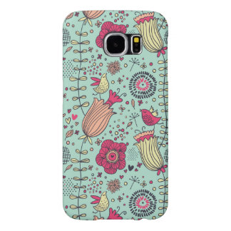 Cartoon floral pattern with birds samsung galaxy s6 cases