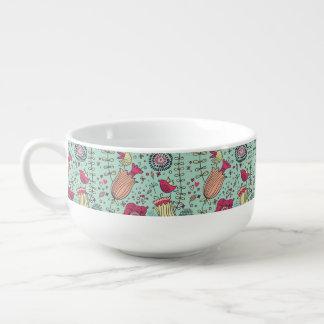 Cartoon floral pattern with birds soup mug