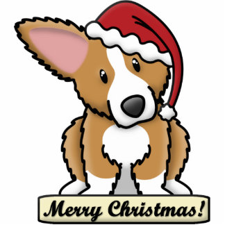 Cartoon Fluffy Corgi Christmas Ornament Photo Sculpture Decoration