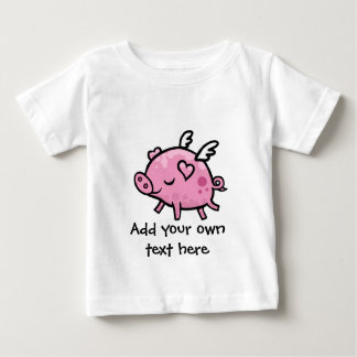 Cartoon Flying pig customisable text Baby T-Shirt