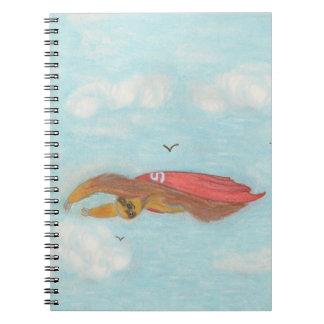 cartoon flying super sloth notebook