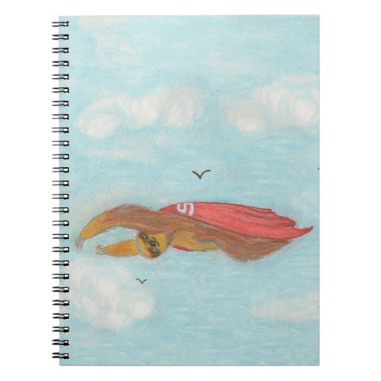 cartoon flying super sloth notebook