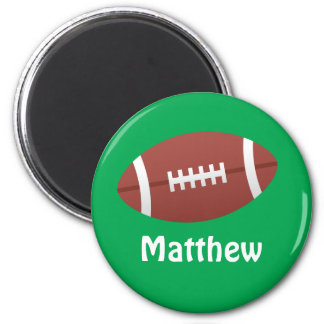 Cartoon football green personalized name 6 cm round magnet